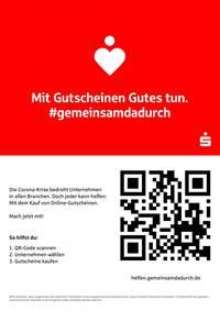 Gutscheininitiative der Sparkasse '#gemeinsamdadurch' - Mit Gutscheinen Gutes tun