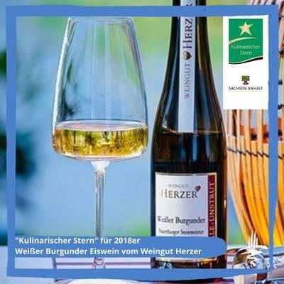 Kulinarischer Stern für 2018er Weißer Burgunder Eiswein vom Weingut Herzer ©Agrar-Marketing-Gesellschaft Sachsen-Anhalt; Fotograf: Andreas Stedtler