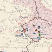 Kartenansicht der Städte mit hussitischer Geschichte