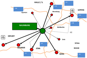 Lage der Stadt Naumburg (Saale)